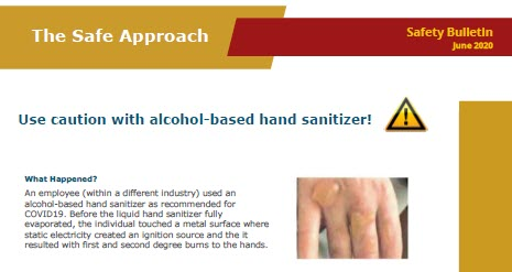 Caution with alcohol-based sanitizer